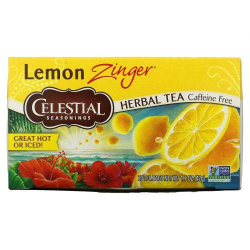 Celestial Seasonings, Травяной чай, без кофеина, Лимонное чудо, 20 пакетиков, 1,7 oz (47 г)