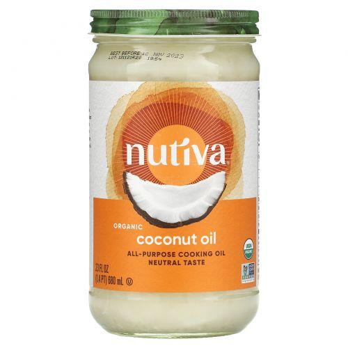 Nutiva, Органическое кокосовое масло, рафинированное, 23 жидких унций (680 мл)