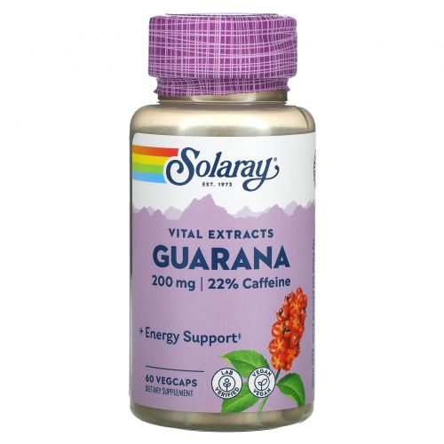 Solaray, Экстракт семян гуараны, 200мг, 60растительных капсул