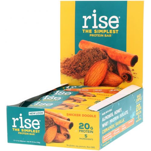 Rise Bar, Протеиновый батончик, сникердудл, 12 шт, 2,1 унции (60 г) каждый