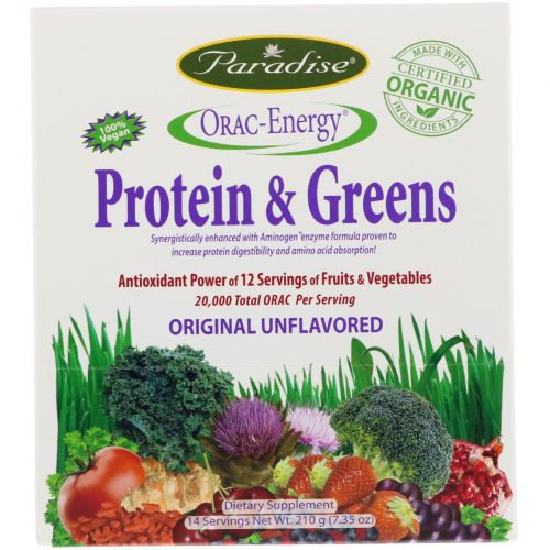 Paradise Herbs, ORAC-Energy, Protein & Greens, 14 Packets, 0.53 унций (15 г)