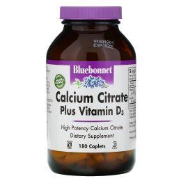Bluebonnet Nutrition, Цитрат кальция с витамином D3, 180 капсулообразных таблеток