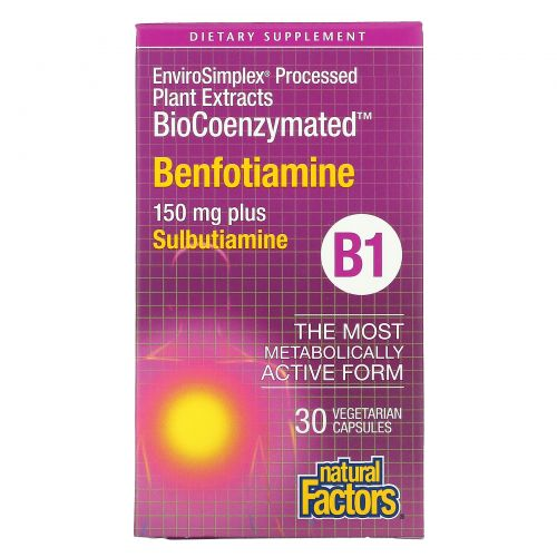 Natural Factors, BioCoenzymated, Benfotiamine, 150 mg, 30 Vegetarian Capsules