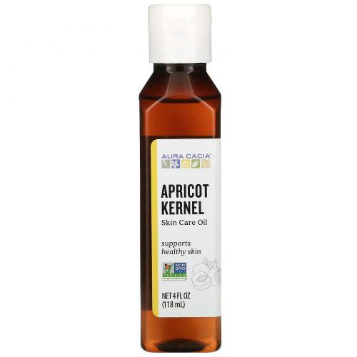 Aura Cacia, Натуральное, восстанавливающее масло абрикосовой косточки для ухода за кожей, 4 жидких унции (118 мл)