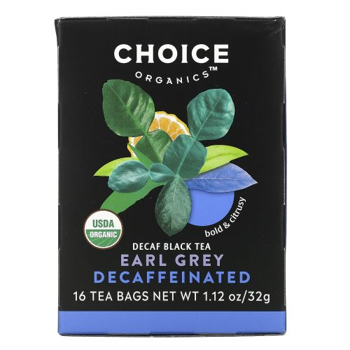 Choice Organic Teas, Органический чай Эрл Грей без кофеина, черный чай без кофеина, 16 пакетиков, 1,1 унции (32 г)