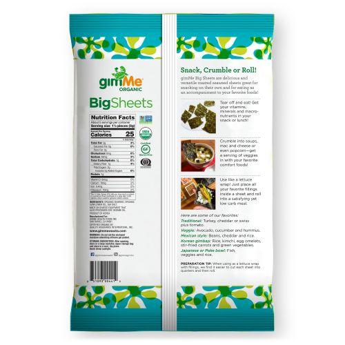 gimMe, Premium Roasted Seaweed, Big Sheets, Sea Salt , 0.92 oz (26 g)