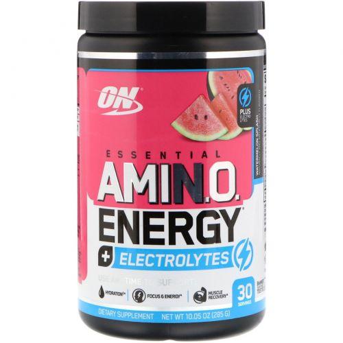 Optimum Nutrition, Essential Amino Energy + электролиты, арбузный взрыв, 10,05 унц. (285 г)