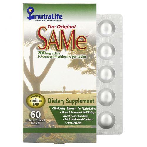 NutraLife, The Original SAMe (S-Adenosyl-L-Methionine), 200 мг, 60 таблеток, покрытых кишечнорастворимой оболочкой