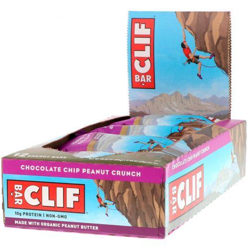 Clif Bar, Энергетический батончик, шоколадная крошка и персик, 12 батончиков, 2,4 унции (68 г) каждый
