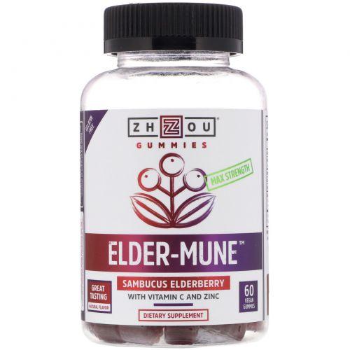 Zhou Nutrition, Max Strength Elder-Mune, Sambucus Elderberry, 60 Vegan Gummies