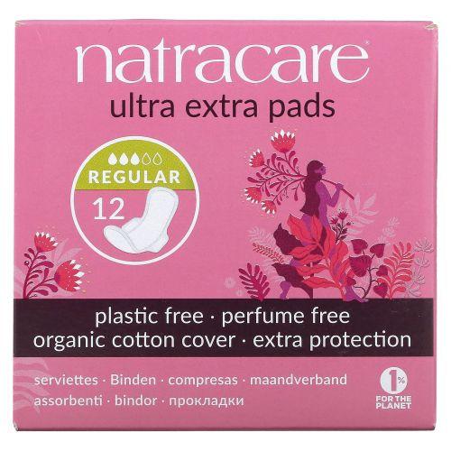 Natracare, Органические и натуральные прокладки ультра экстра, нормальные, 12 прокладок