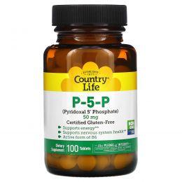 Country Life, П-5-Ф (пиридоксаль-5' -фосфат),  50 мг, 100 таблеток