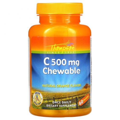 Thompson, Витамин C 500 мг, Оригинальный апельсиновый вкус, 60 жевательных таблеток