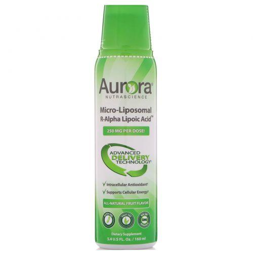 Aurora Nutrascience, R-альфа липоевая кислота в форме микро липосом, натуральный фруктовый вкус, 200 мг, 5,4 ж. унц.(160 мл)