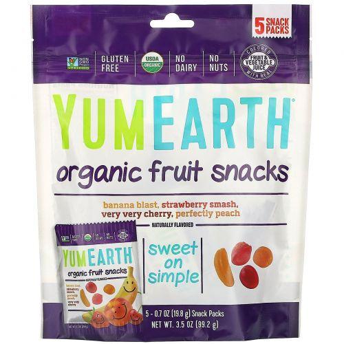 YumEarth, Органическая фруктовая закуска, банан, вищня, персик и клубника, 5 штук, в каждой 0,70 унций (20 гр)