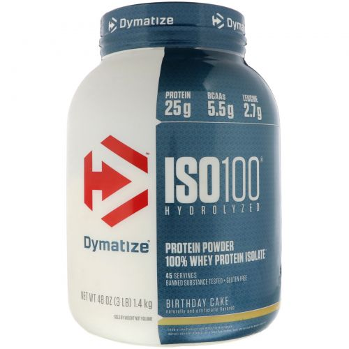 Dymatize Nutrition, ISO 100 Hydrolyzed 100% Whey Protein Isolate, Birthday Cake, 48 oz (1.4 kg)