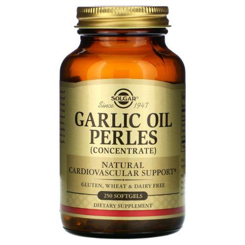 Solgar, Чесночное масло Perles, (концентрат), 250 мягких капсул