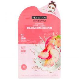 Freeman, Feeling Beautiful, подушечки для пилинга + маска для 2-этапной процедуры, увлажняющие, персик + йогурт, 1 подушечка для пилинга и 1 маска-салфетка