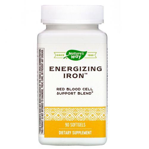 Enzymatic Therapy, Energizing Iron, двойная формула железа, 90 желатиновых капсул