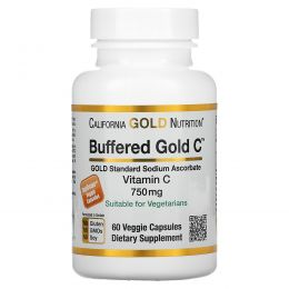 California Gold Nutrition, Buffered Gold C, Non-Acidic Vitamin C, Sodium Ascorbate, 750 mg, 60 Растительная капсула