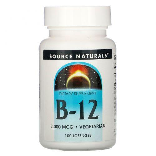 Source Naturals, B-12, Таблетки для рассасывания под языком, 2,000 мкг, 100 таблеток