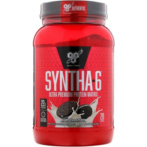 BSN, Syntha-6, питьевая смесь белкового порошка, печенье и сливки, 2,91 фунта (1,32 кг)