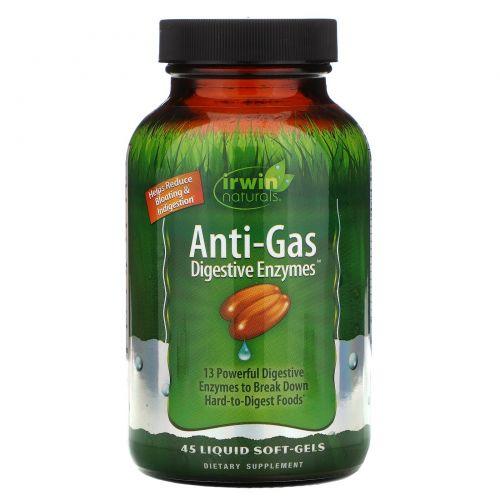 Irwin Naturals, Пищеварительные ферменты для борьбы с газообразованием, 45 мягких желатиновых капсул с жидкостью