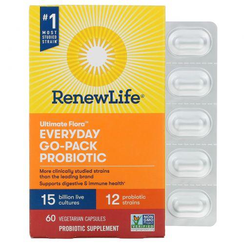 Renew Life, Идеальная флора, ежедневный пробиотик RTS, 15 млрд, 60 вегетарианских капсул