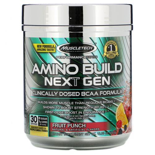 Muscletech, Performance Series, Amino Build, Next Gen, Fruit Punch, 9.83 oz (279 g)