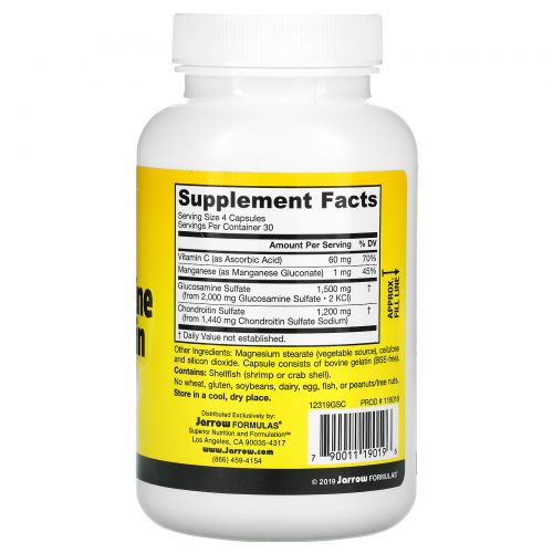 Jarrow Formulas, Комбинация Глюкозамин + Хондроитин, 120 капсул