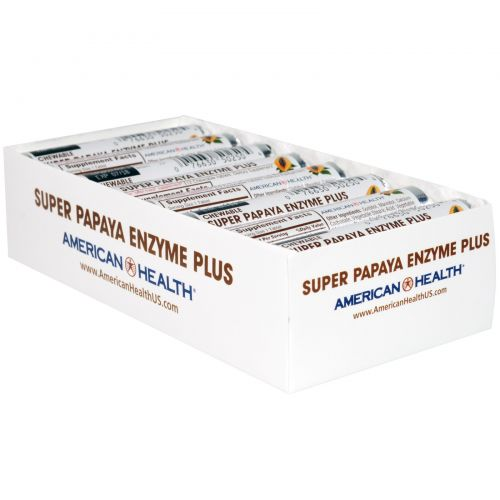 """American Health, """"Супер"""", фермент папайи плюс, жевательные таблетки, 16 ролов, по 12 таблеток каждый"""
