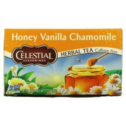 Celestial Seasonings, Травяной чай, без кофеина, мед, ваниль и ромашка 20 чайных пакетиков, 1.7 унции (47 г)