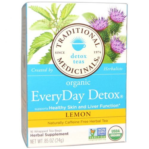Traditional Medicinals, Натуральный Ежедневный Оздоровительный Чай, Лимон, без Кофеина, 16 пакетиков, 24 г