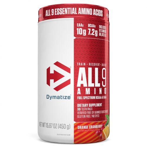 Dymatize Nutrition, All 9 Amino, апельсин и клюква, 15,87 унц. (450 г)