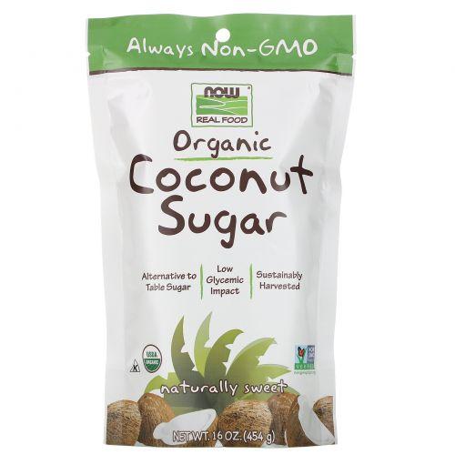 Now Foods, Real Food, органический кокосовый сахар, 16 унций (454 г)