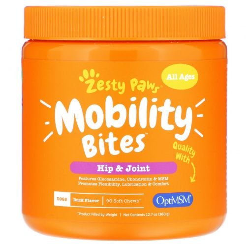 Zesty Paws, Mobility Bites for Dogs and Cats, Hip and Joint Support, Duck Flavor, 90 Soft Chews