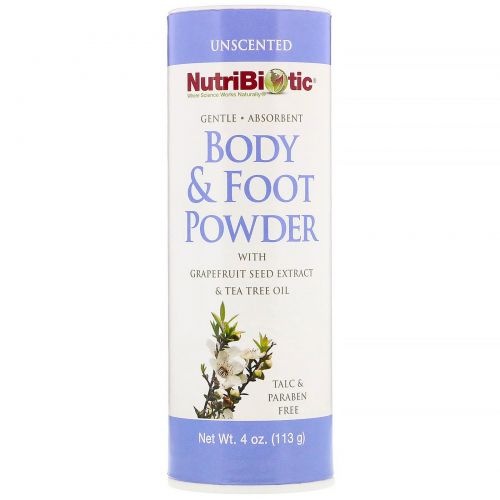 NutriBiotic, Натуральный порошок для ног и тела, без запаха, 4 унции (113 г)