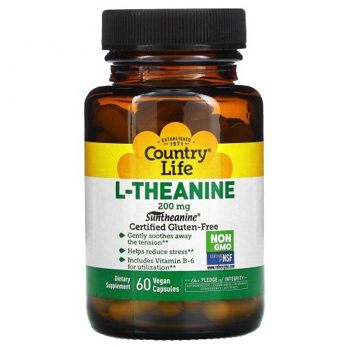 Country Life, L-теанин, 200 мг, 60 растительных капсул
