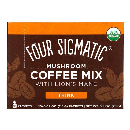 """Four Sigmatic, Грибная сместь для кофе, """"Думай с грвиой льва и чагой!, 10 пакетов, по 0,09 унции (2,5 г) каждый"""
