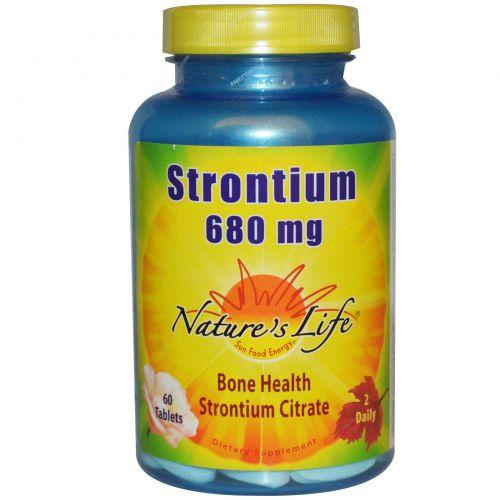 Nature's Life, Стронций, 680 мг, 60 таблеток