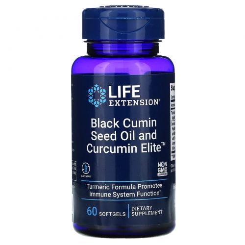 Life Extension, Black Cumin Seed Oil and Curcumin Elite Turmeric Extract, 60 Softgels