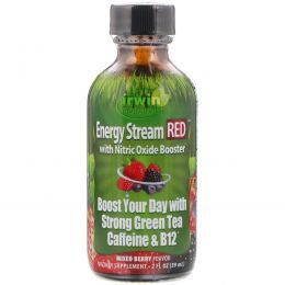 Irwin Naturals, Energy Stream RED with Nitric Oxide Booster, Mixed Berry Flavor, 2 fl oz (59 ml)