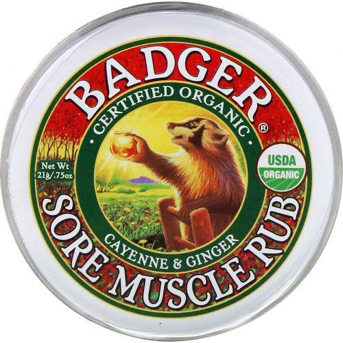 Badger Company, Крем от боли в мышцах, кайенский перец и имбирь, 21 г (0,75 унции)
