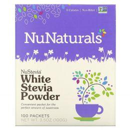 NuNaturals, NuStevia Белый порошок стевии, 100 пакетиков, 3.5 oz (100 г)