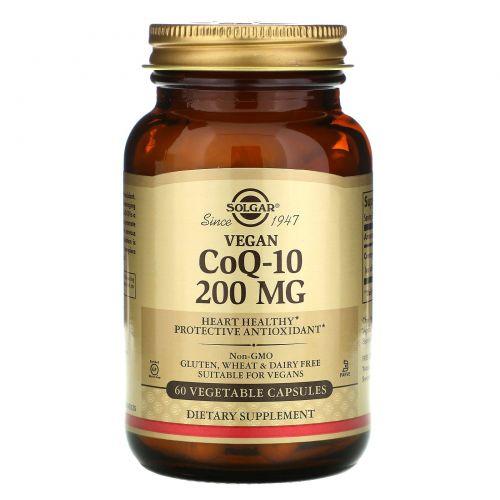 Solgar, Коэнзим Q-10, 200 мг, 60 растительных капсул