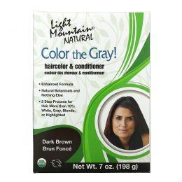 Light Mountain, Краска для седых волос, Натуральная краска для волос и кондиционер, Шоколад, 7 унций (197 г)