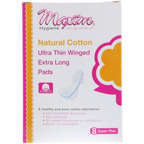 Maxim Hygiene Products, Ультратонкие прокладки с крылышками, супер плюс, 8 шт.