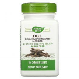 Nature's Way, DGL, деглициризированная солодка, без фруктозы и сахара, 100 жевательных таблеток