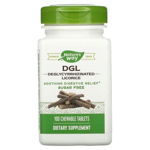 Enzymatic Therapy, DGL, 3:1 глицирризинат солодки, 100 жевательных таблеток