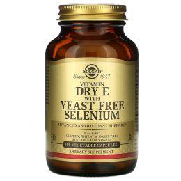 Solgar, Натуральный сухой витамин E с бездрожжевым селеном, 100 вегетарианских капсул
